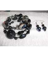 Black Licorice Glass and Ceramic Bead Handmade Gypsy Bracelet and Earrin... - $8.00