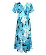 Robert J Clancy™ Hibiscus Wish Design 100% Rayon V-Neck Tea Length Maxi ... - $98.61 CAD+