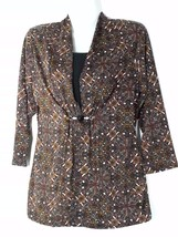 Notations Bejeweled Brown Print Top Small S 6 8 New NWT - $27.84