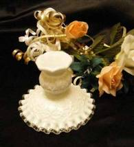 3436 Fenton Spanish Lace Silver Crest Candle Holder - $20.50