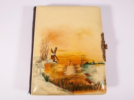 FREE SHIP: Antique Vintage Celluloid Album - Winter Landscape with Windm... - $51.43