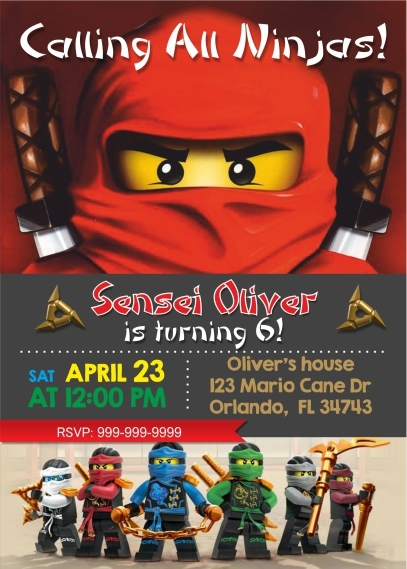 Ninjago Birthday Invitation Lego And 50 Similar Items