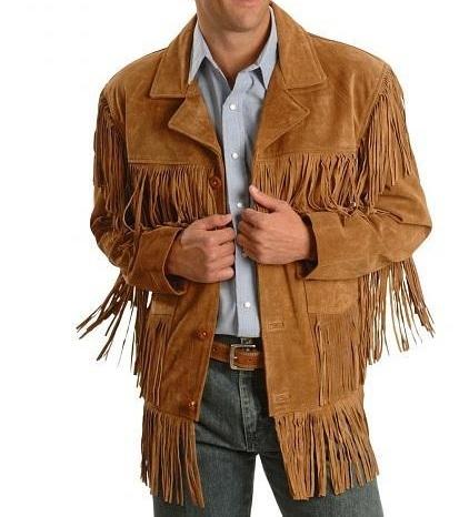 Used, Men westren fringe jackets, Men brown fringe jacket, Men cow boy suede jacket for sale  USA