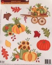 Static Window Clings New Thanksgiving Glitter Autumn Sunflower Pumpkin S... - $8.82
