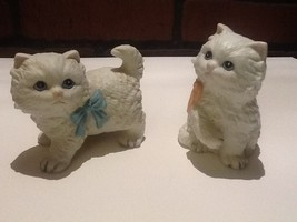 Vintage Homco Porcelain Cats - Sitting w/Pink Bow and Standing w/Blue Bow - $6.85