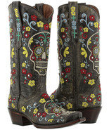 womens black distressed leather studded cowboy western boots skull rocke... - $179.99