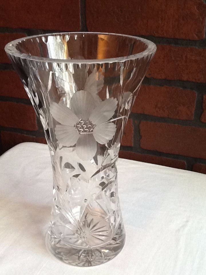Gorgeous 10 Heavy Crystal Vase Etched And 20 Similar Items