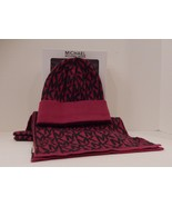 GENUINE MICHAEL KORS PINK GRAY ACYRLIC WOMEN'S SCARF AND HAT SET IN GIFT... - $40.58