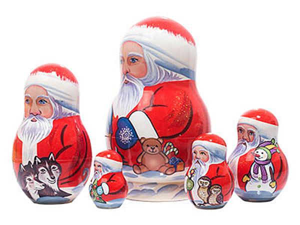 "Yukon Santa Nesting Doll - 5"" w/ 5 Pieces"