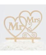Mr & Mrs Wooden Hearts Wedding Cake Topper Decoration - $14.95