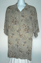EUC MENS CAMPIA BUTTON FRONT SHIRT XXXLT RAYON BAMBOO PALMS GREEN - $24.70