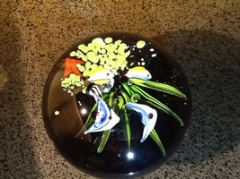 Vintage Art Glass Paperweight - Tropical Fish - $14.85