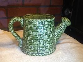Vintage Lefton Ceramic Watering Can Planter - Basket Weave - Green - $9.85