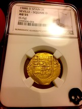 "Spain 1688 ""Full Date!"" 2 Escudos Ngc 55 Only 1 Known! Gold Cob Doubloon Coin - $3,950.00"