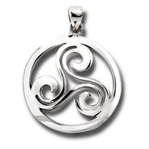 925 Sterling Silver Celtic Triple Spiral Triske... - $28.85