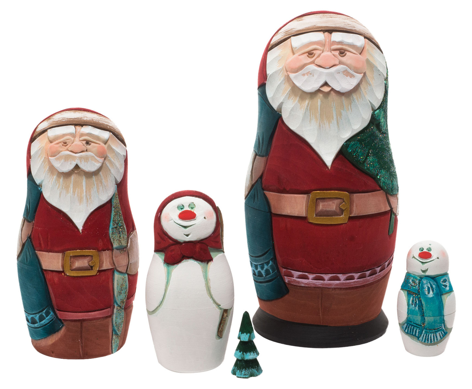 "Carved Christmas Nesting Doll - 6"" w/ 5 Pieces"
