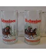Budweiser Clydesdales Set of 2 Glass Mugs Stein 1989 Christmas Mug Handl... - $27.32