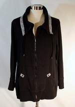 Chico's Zenergy Cozy Cotton Knit Jacket Black White Animal Print Trim sz... - $26.80