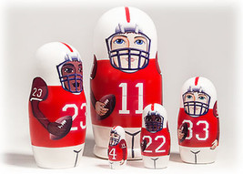 "Football Nesting Doll - 6"" w/ 5 Pieces - Red - $24.00"