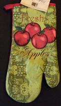 APPLE OVEN MITT POTHOLDERS 3pc Set Red Fresh Apples Fruit Green Kitchen Linen image 4