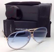 PORSCHE DESIGN Titanium Aviator Sunglasses P'8478 W 63-10 Gold White-2 Lens Sets
