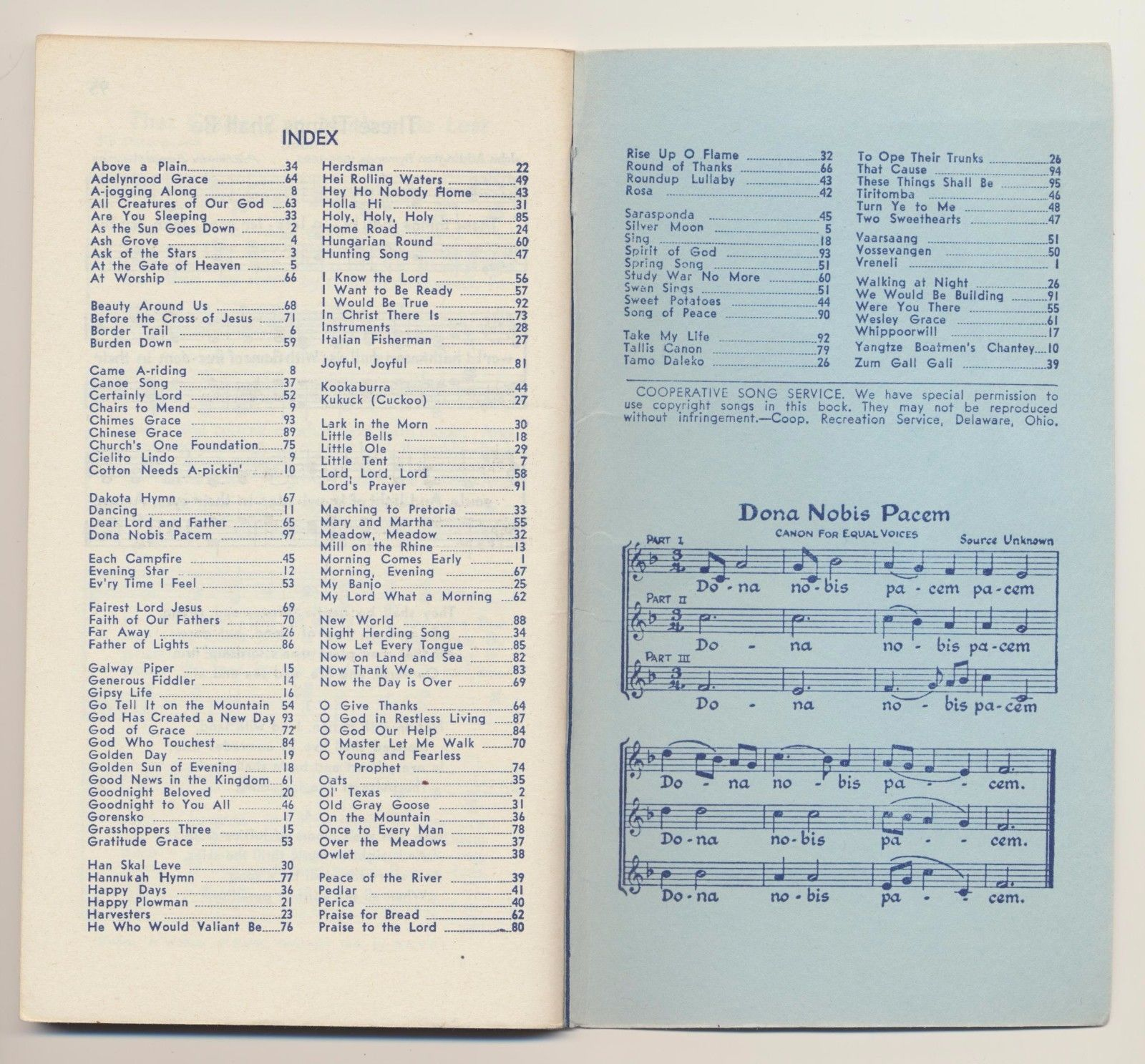 Vintage Song Book Songs of Many Nations Cooperative Recreation Service
