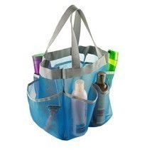 7 Pocket Mesh Shower Caddy Tote Bathroom Organizer Light Blue Dorm Must-... - $13.91