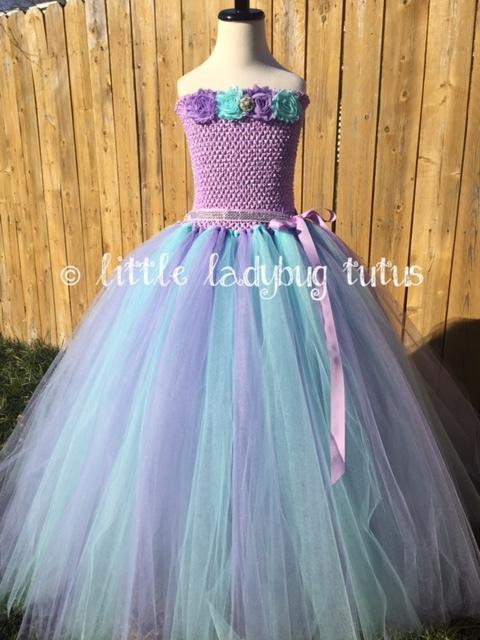 Aqua and Lavender Ballgown Tutu Dress, Under the Sea Birthday Dress - $50.00 - $75.00