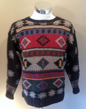 VTG Woolrich Aztec Design Hand Knit Cable Sweater Navajo Camping Thick W... - £21.27 GBP