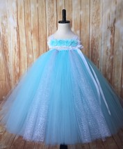Aqua and Silver Tutu Dress, Aqua Flower Girl Dress, Aqua Tutu Dress, Fro... - $60.00+