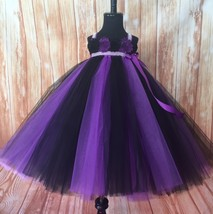 Purple and Black Tutu Dress, Purple Flower Girl Tutu, Halloween Pageant Tutu  - $50.00+