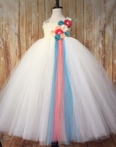 Ivory Flower Girl Tutu Dress, Ivory Coral Peach Tutu Dress, Coral Peach ... - $50.00+