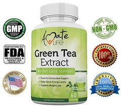 Amate Life Green Tea Extract 500mg Supplement - Metabolism Booster with ... - $11.99