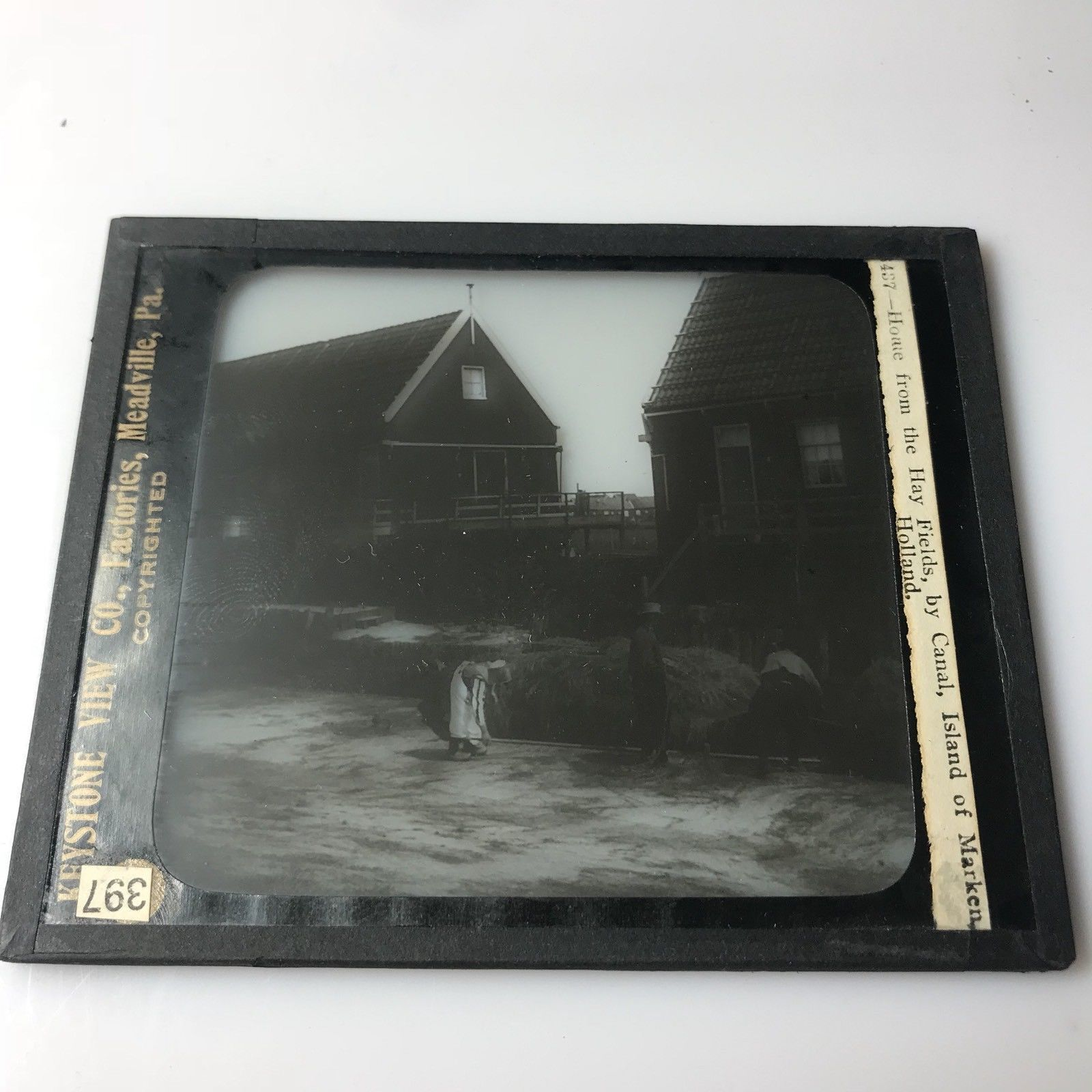 Vtg Magic Lantern Glass Slide Photo Keystone Island Of Marken Holland