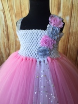 Pink & White Tutu Dress, Pink Flower Girl Dress, Pink Pageant Tutu - $50.00+