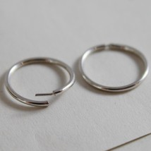 18K WHITE GOLD EARRINGS MINI CIRCLE HOOP 13 MM 0.51 IN DIAMETER MADE IN ITALY image 2
