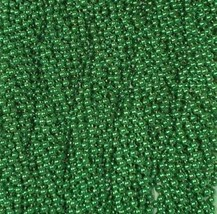 144 Green Mardi Gras Beads Party Favors Necklaces Metallic 12 Dozen Lot - €16,27 EUR
