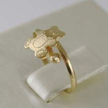 SOLID 18K YELLOW GOLD RING WITH SATIN BEAR FOR GIRL, MADE IN ITALY image 2