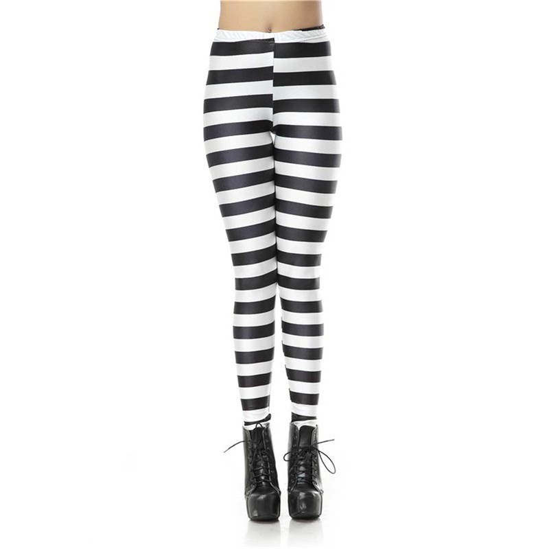 Horizontal Black and White Stripes Women's Leggings Yoga Workout Capri Pants