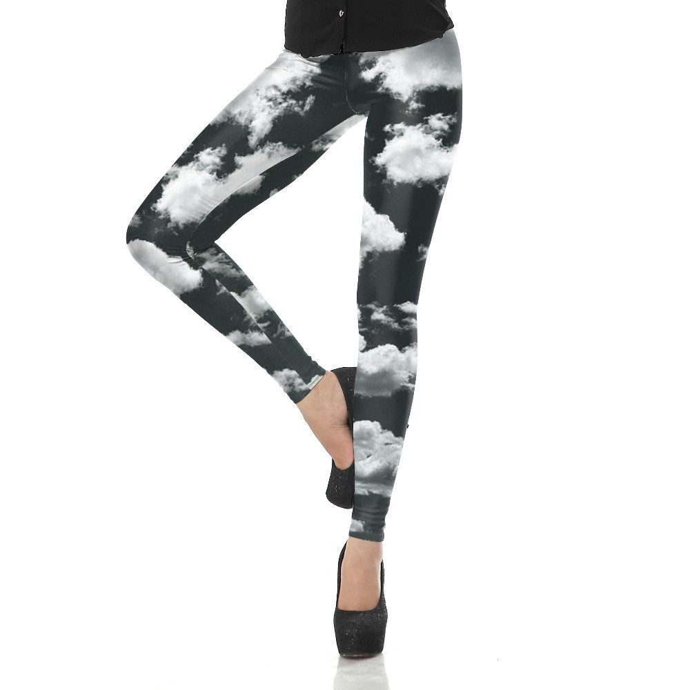 Grey Sky Clouds Women's Leggings Yoga Workout Capri Pants