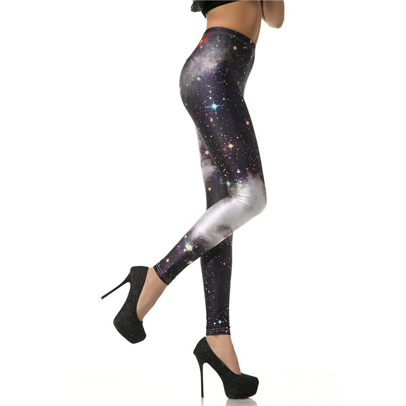 Black and White Galaxy Nebula Stars Women's Leggings Yoga Workout Capri Pants