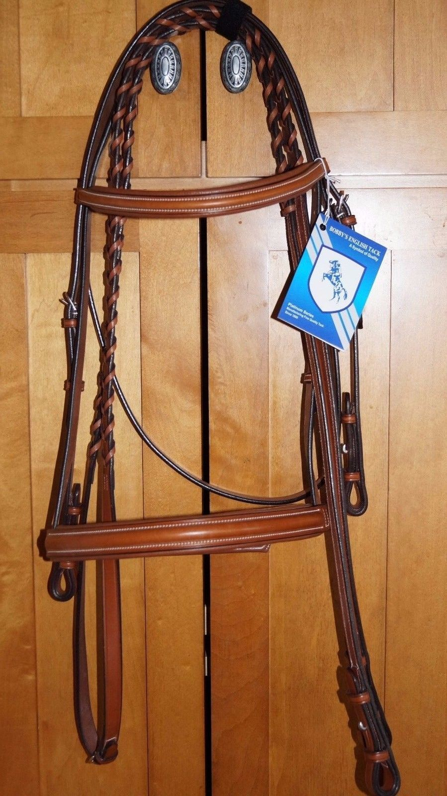 Bobby's Platinum English Leather Light Brown Padded Bridle w/Reins - WB sz