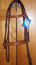 Bobby's Platinum English Leather Light Brown Padded Bridle w/Reins - WB sz - $189.00