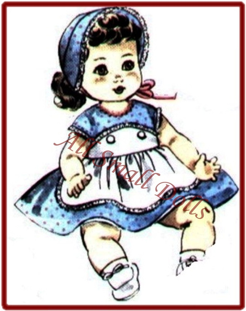 "Vintage Doll Clothing Pattern for 8""-9"" Baby Dolls"