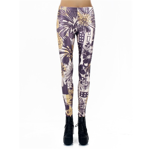 Flowers and Doodles Women's Leggings Yoga Workout Capri Pants