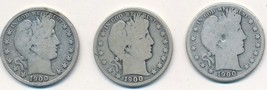 1900 BARBER SILVER HALF DOLLAR LOT-3 DIFFERENT MINTS-P,O,S-CIRCULATED-FR... - $44.95