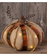 "NEW!! Primitive Country LED w/timer 8"" Pumpkin Fall Decor Halloween Tabl... - $22.72"