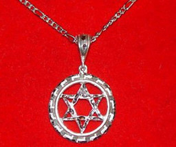 Star Of David Jewish Pendant Charm 10 GRAMS solid Sterling silver .925 J... - $34.47