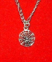 Black Widow Spider Pendant Gothic Silver WEB Charm - $15.31
