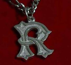 Gothic Letter R Silver Pendant Charm Initial Jewelry - $17.26